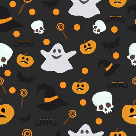 wallpapering: Vector seamless pattern for Halloween. Pumpkin, ghost, bat, candy, and other items on Halloween theme. Bright cartoon pattern for Halloween