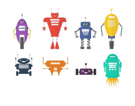 retro robot: Retro robot set in flat style, vintage cute robots. Toy robots vector