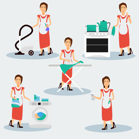 housekeeper: Multitasking housewife Vector illustration. Housekeeper woman ironing, cleaning, cooking and washing.