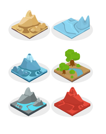 back yard: Game ground items. Nature stone, landscape in cartoon style interface, rock and water layer.