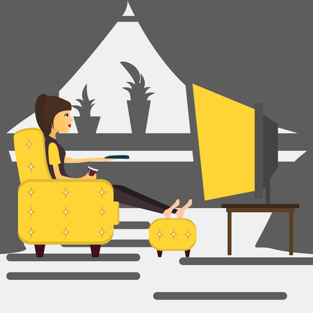 channel surfing: Young girl at home watching TV . Vector illustration Illustration