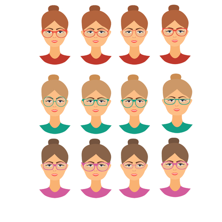 diopter: Set of girls different face shapes . Forms glasses.