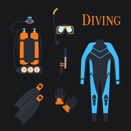 snorkelling: Set for diving sports. Set .kostyum immersion in water, Balon air . Vector illustration