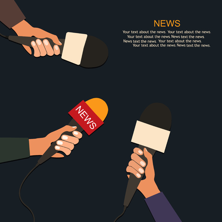 publicist: Microphones and voice recorder in hands of reporters on press conference or interview. Journalism concept.Vector Illustration