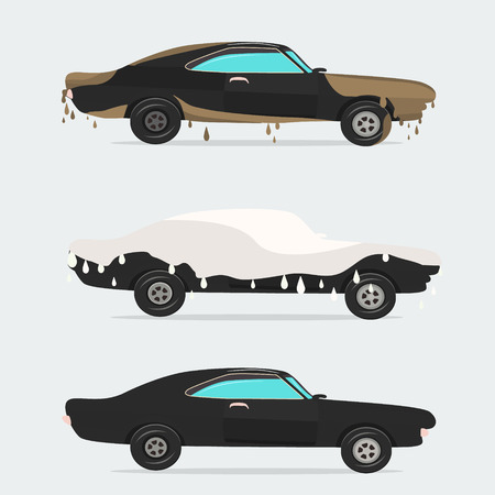 Cool vector flat illustration on dirty and clean car. Vetores