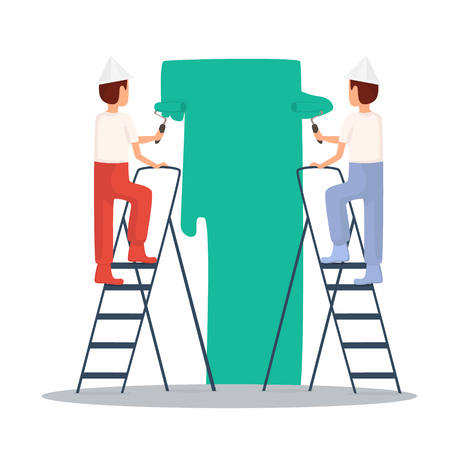 craftsman: Painting, painter. Craftsman painting. Builder, Repairs, painter in yellow helmet working with tools. Flat design vector illustration.