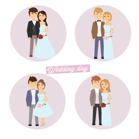 wedding set. The bride and groom characters. .Vektor Joy illustration