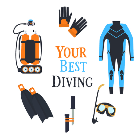 Great tool set for scuba diving and spearfishing. Vector illustration