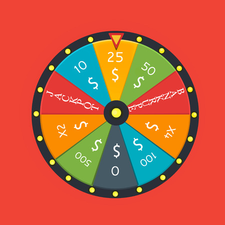 wheel of fortune: Fortune wheel in flat style. Game money, winner play luck Illustration