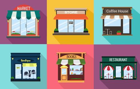 Set the facade of a restaurant, shop, coffee shop, book shop, a boutique, exterior idea. Vector illustration