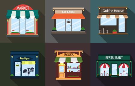 Set the facade of a restaurant, shop, coffee shop, book shop, a boutique, exterior idea. Vector illustration Imagens - 63465954