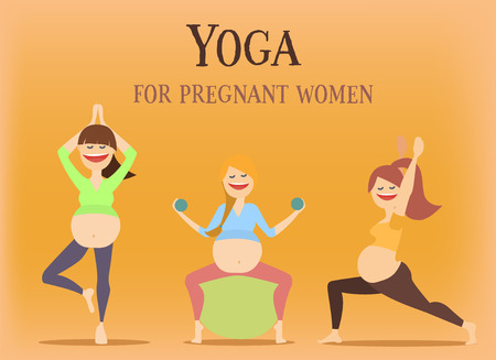 Big set of characters girls do yoga during pregnancy. vector