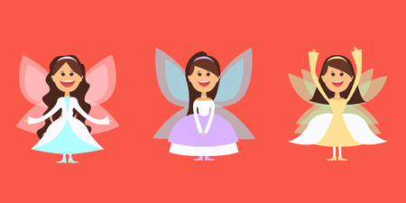 Big set of fantastic characters fairies, different costumes for the masquerade. Vector illustration