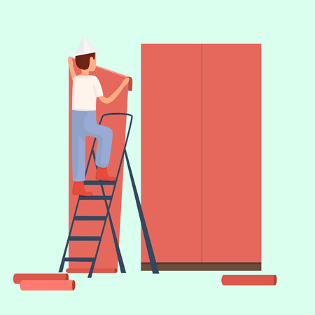 Male builder glue wallpaper red. Vector illustration Imagens - 63465957