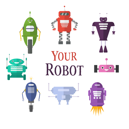 Retro robot set in flat style, vintage cute robots. Toy robots vector