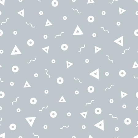 Geometric Vector pattern with black and white. Form a triangle, a line, a circle. Hipster fashion Memphis style. Ilustração