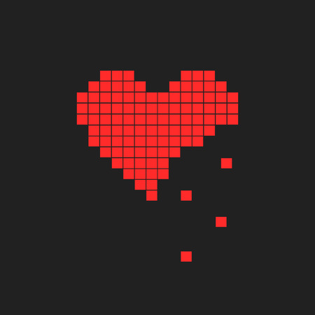 Vector illustration of heart symbol in pixel art style