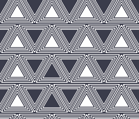 Seamless geometric black and white stripes background, simple vector pattern Ilustração