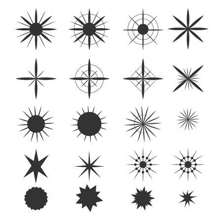 Sparkle stars icons. Symbols of sparkle, glint. gleam, etc Vector illustration