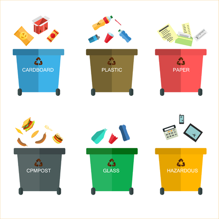 litterbin: Garbage cans vector flat illustrations. Many garbage cans with sorted garbage. Sorting garbage. Ecology and recycle concept. Trash cans isolated on white background Illustration