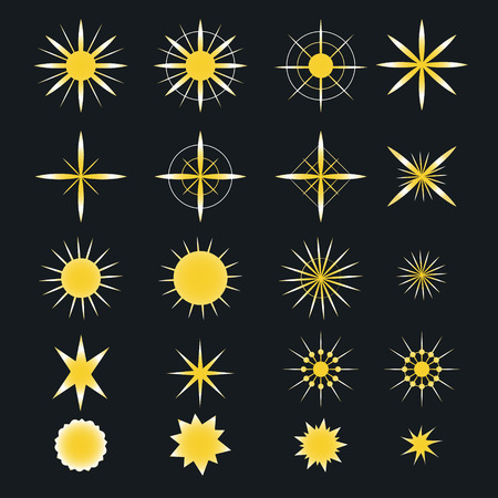Sparkle stars icons. Symbols of sparkle, glint. gleam, etc Vector illustration Imagens - 63465848