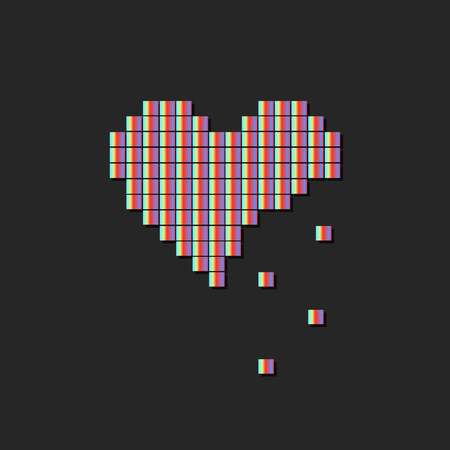 Vector illustration of heart symbol in pixel art style Imagens - 63465851