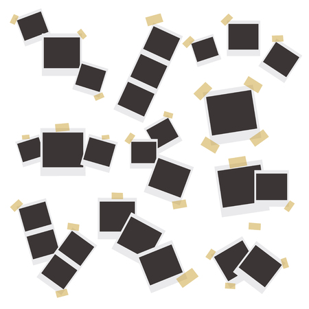 Set of realistic vector photo frames on sticky tape, pins and rivets isolated on beige background.