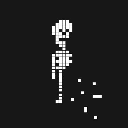 Pixel style halloween skeleton background . Vector illustration Imagens - 63465854