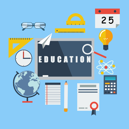 Set in a flat style elements of education. Vector illustration