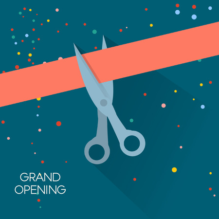 Grand opening illustration with red ribbon. Vector