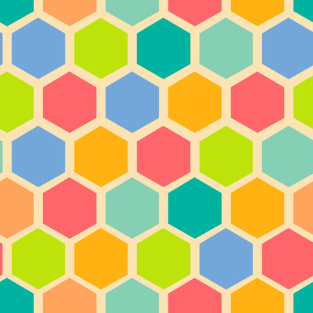 angled: Retro geometric hexagon seamless pattern. vector illustrations Illustration