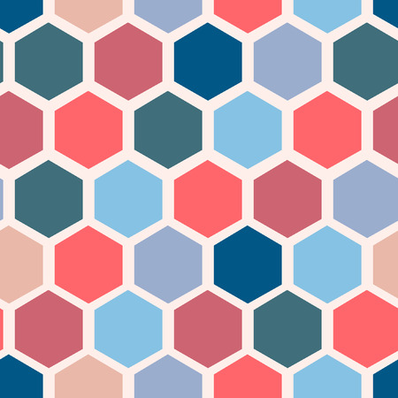 Retro geometric hexagon seamless pattern. vector illustrations Imagens - 63465840