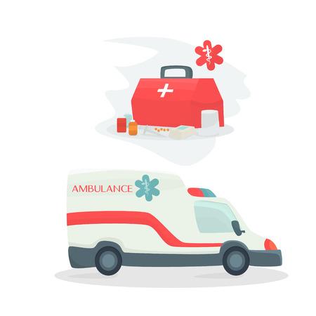 Ambulance car vector illustration. Ambulance car isolated on white background. Ambulance car vector icon illustration. Imagens - 63465843
