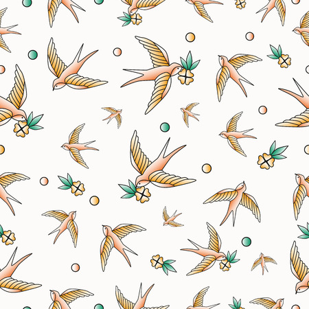 Old school tattoo vector seamless pattern with swallows.Vector Ilustração