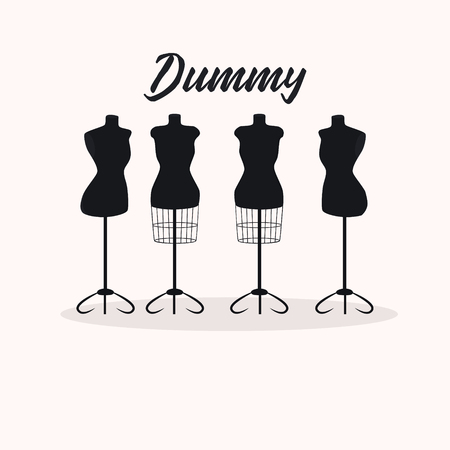 Vintage collection of female mannequins. Silhouettes of figures. Vector illustration
