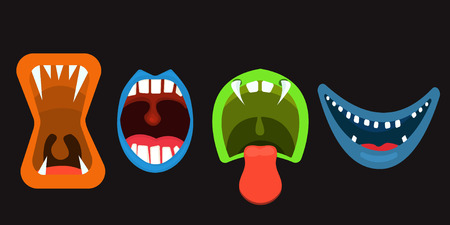 Monster Mouths set of scary faces, vector illustration