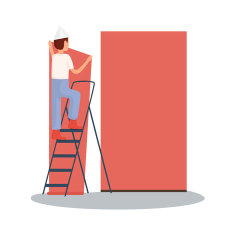 The builder makes repairs. repair sticky wallpaper. Vector illustration Imagens - 63465805