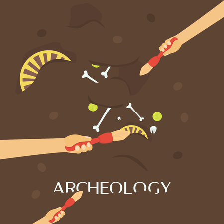 Archeology science. Ancient fossils. Discovering a jug, treasure hunters ancient artifacts.