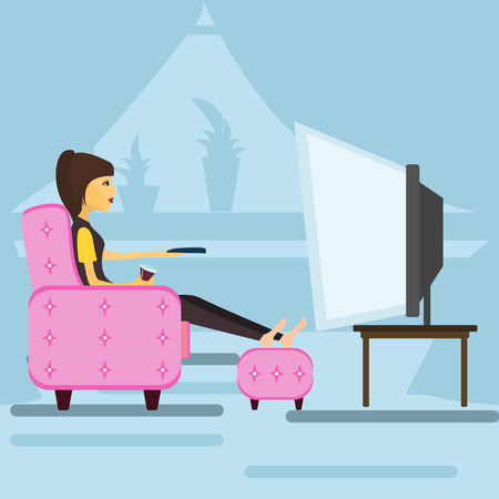 Young girl at home watching TV . Vector illustration Stock Illustratie