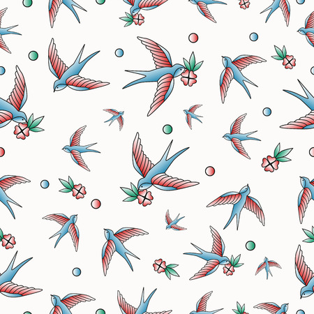 Old school tattoo vector seamless pattern with swallows. Ilustração