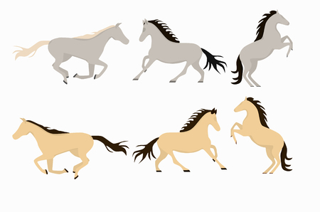 Smiling cartoon horses on white background and cartoon horse vector set.