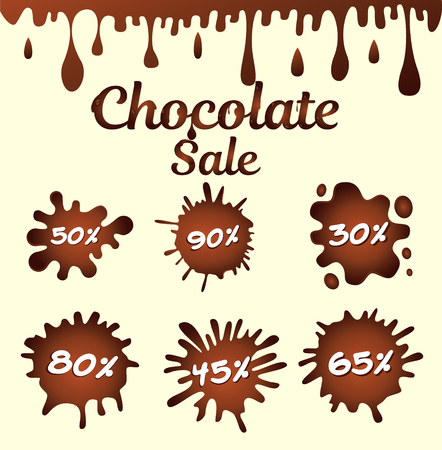 Set of chocolate drops and blots. Sweet and stain and shape. Vector illustration
