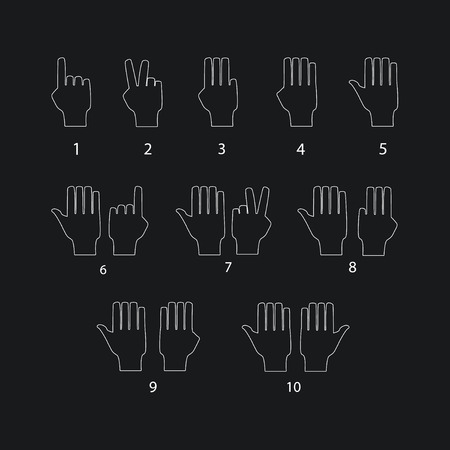 six point: Hand gestures line icons set. Vector illustrations Illustration