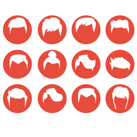 men hairstyle: Men hairstyle icons set flat isolated vector illustration