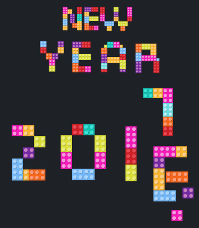 year s: New Year background 2017 children s designer, style colored blocks
