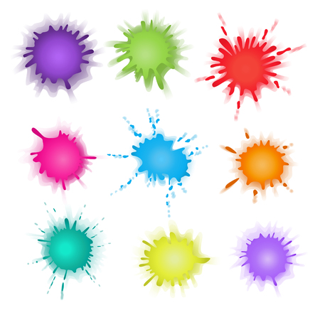 patching: Collection of paint splash. Vector set of brush strokes. Isolated on white background