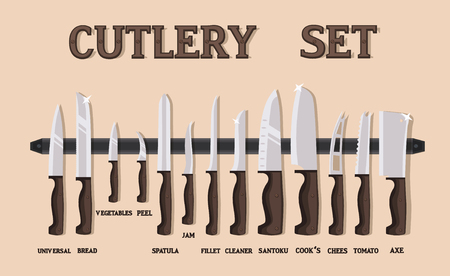 Set flat icons of kitchen knives with signature names. Vector isolated on white background. Ilustração