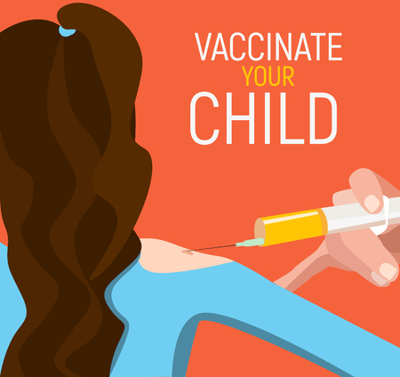Child vaccination concept poster. Medical immunization, patient healthcare