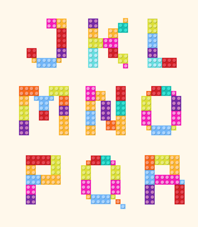 Alphabet blocks color style vector set. Illustration
