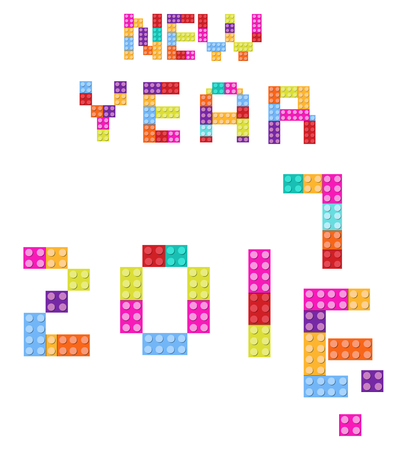 children s: New Year background 2017 children s designer, style colored blocks. Vector Illustration